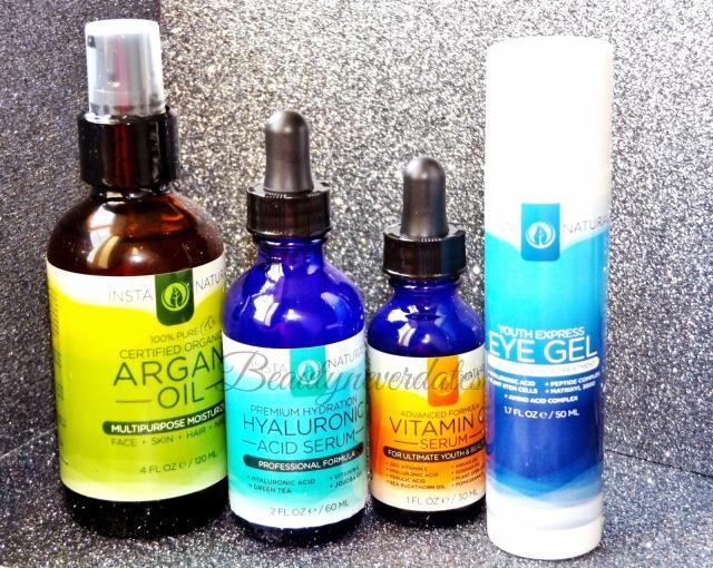 Insta Natural Haul / First Impressions Vitamin C Serum, Hyaluronic Acid Serum, Eye Gel and Argan oil